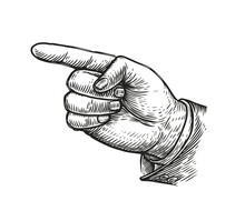 Hand Pointing Or Showing Direction Pointing Finger Retro Style. Vintage Vector Illustration