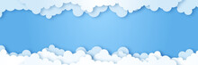 Clouds On Blue Sky Banner. White Cloud On Blue Sky In Paper Cut Style. Clouds On Transparent Background. Vector Paper Clouds.White Cloud On Blue Sky Paper Cut Design. Vector Paper Art Illustration
