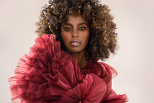 Beauty Portrait Of Afro Woman . Girl Looking At Camera. Elegant Style. Curly Hair. Brown Eyes. Glamour Makeup. Closeup Photo.