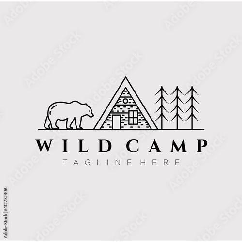 Tela cabin cottage camp line art logo vector illustration design