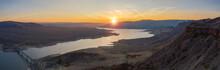 Aerial Panorama Of Warm Autumn Sunset Over Lake In High Desert. Photo Taken In Curecanti National Recreation Area Near Gunnison, Colorado.