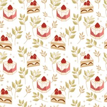 Hand Drawn Colorful Cake, Bakery, And Pastry Seamless Pattern With Strawberry And Floral Leaf Elements In Black Linear Style And Isolated White Background For Textile, Fabric, Paper, Or Gift Wrapping