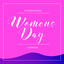 Happy International Women's Day Vector Illustration Concept, Beautiful Girl Illustration From Side View. Square Banner. Can Use For Greeting Card, Poster, Landing Page, Banner, Flyer.