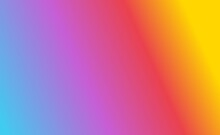 Gradient Background With Four Colors, Yellow, Red, Purple, Light Blue. Smooth Gradation. Suitable For Backgrounds, Web Design, Banners, Illustrations And Others