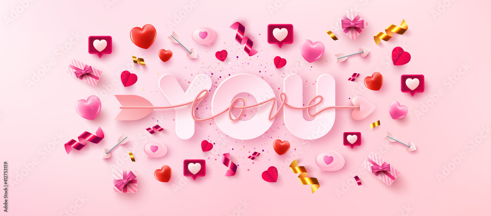 Fototapeta Love You Card or Banner with symbol of arrow love script over you word and valentine elements on pink background.Promotion and shopping template for love and Valentine's day in flat lay style.