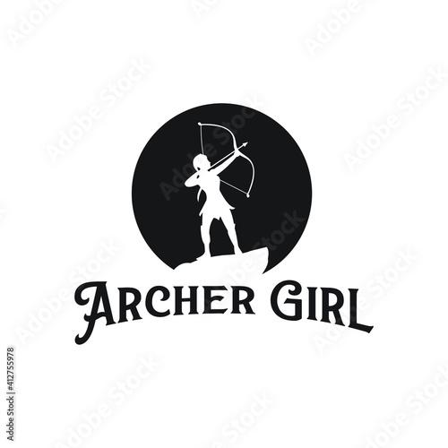 Tablou Canvas archer girl logo fairy silhouette archer soldier lady exclusive design inspirati