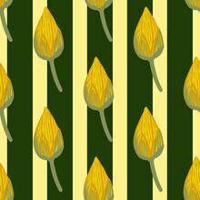 Wilflife Asian Botany Seamless Pattern With Doodle Lotus Bud Elements. Yellow Flowers And Striped Background.
