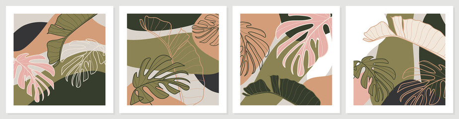 Botanical wall art vector set. Earth tone background foliage line art drawing with abstract shape and watercolor. Design for wall framed prints, canvas prints, poster, home decor, cover, wallpaper.