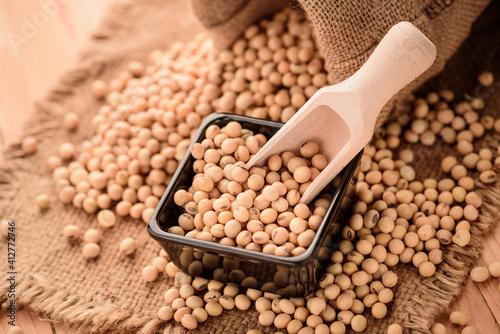 Fototapeta Close-up Of Roasted Coffee Beans On Wood obraz