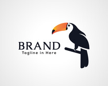 Simple Stand Toucan Bird Art Logo Icon Symbol Design Illustration Inspiration