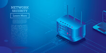 Cyber Security Isometric Concept. Gateway Preventing Cyber Attacks. Security Services.