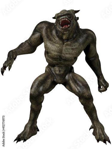 Canvas 3d render of a fantasy demon figure