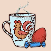 Digital Illustration, A Cup With A Hot Drink And A Painted Rooster