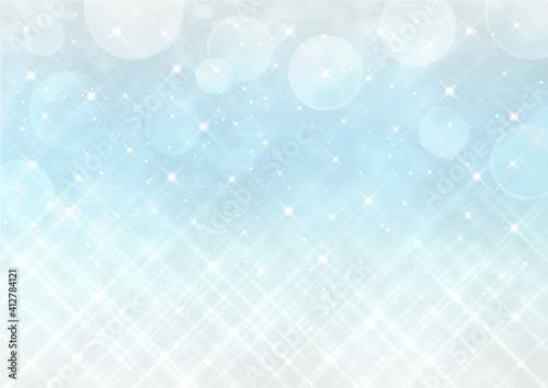 Obraz クロスフィルター風の輝きとボケ 幻想的な背景素材(水色) - fototapety do salonu