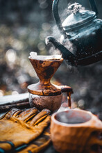 Coffee Break With Drip Coffee On The Forest, Ground Coffee On The Filter Paper And Wood Dripper