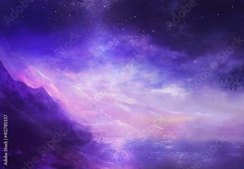 夜明けの空と山の風景 Fototapete