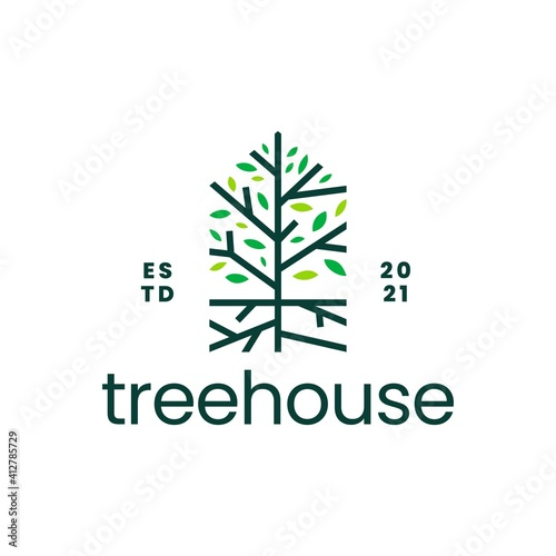 Canvas tree root house home mortgage logo vector icon illustration