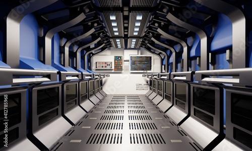 Billede på lærred Spaceship hallway and secret basement corridor interior with blue and silver grey color background