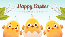 Cute Chicks On A Light Background With Pussy Willow Branches. Postcard For Easter Day.