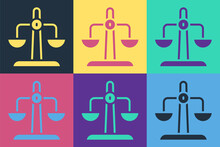 Pop Art Libra Zodiac Sign Icon Isolated On Color Background. Astrological Horoscope Collection. Vector.