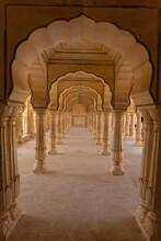 Colonnade Passageway With Arched Pillars At Hall Of Mirrors (Sheesh Mahal) At Amer Palace, Amber Fort, Jaipur, Rajasthan, India,