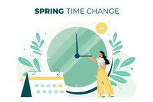 Hand-drawn Spring Time Change Illustration With Woman And Clock Vector Illustration.
