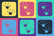 Pop Art Frog Paw Footprint Icon Isolated On Color Background. Vector.