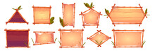 Bamboo Frames With Old Parchment, Wooden Planks Background And Palm Leaves. Different Shapes Hawaiian Or Polynesian Style Borders For Hut Bar, Cartoon Signboards, Empty Vector Banners Or Posters Set