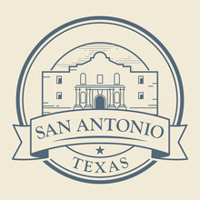 Stamp Or Label With Alamo Mission In San Antonio, Texas