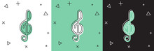 Set Treble Clef Icon Isolated On White And Green, Black Background. Vector.
