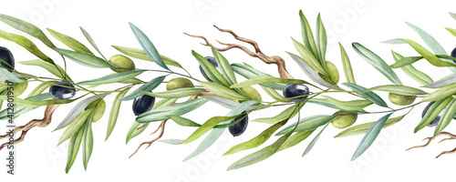 Obraz na płótnie Olive tree branch seamless border with fruit and leaves watercolor element