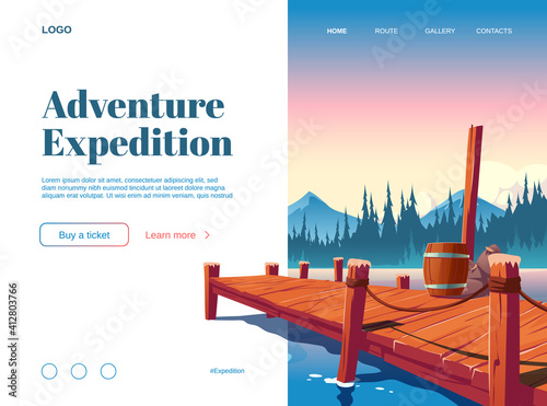 Fotografija Adventure expedition cartoon landing page with wooden pier on lake, pond or river nature landscape