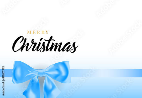 Fototapety, obrazy: Merry Christmas lettering with blue ribbon bow