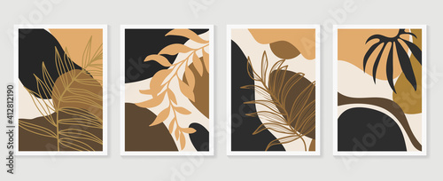 Fototapeta Botanical wall art vector set. Earth tone background foliage line art drawing with abstract shape and watercolor. Design for wall framed prints, canvas prints, poster, home decor, cover, wallpaper. obraz
