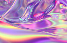 Abstract Geometric Crystal Background, Iridescent Texture, Liquid. 3d Render.