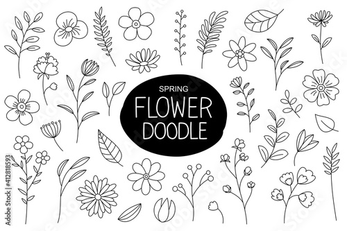 Canvas Print Spring flowers doodle in hand drawn style