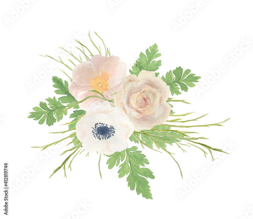 Fotomural Watercolor painting floral composition with gentle rose and anemone flowers
