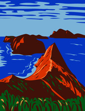 WPA Poster Art Of The Channel Islands National Park Comprises 5 Ecologically Rich Islands Off The Southern California Coast USA In Works Project Administration Or Federal Art Project Style.