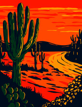 WPA Poster Art Of The Saguaro, Carnegiea Gigantea, A Tree-like Cactus Genus At Dusk In Saguaro National Park In Tucson, Arizona Done In Works Project Administration Or Federal Art Project Style.