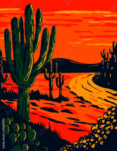 Fototapeta WPA poster art of the Saguaro, Carnegiea gigantea, a tree-like cactus genus at dusk in Saguaro National Park in Tucson, Arizona done in works project administration or federal art project style. obraz