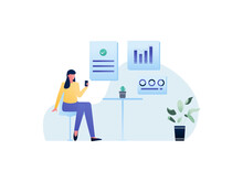 Illustration Vector Graphic Of A Woman Holds Her Phone To Watch Her Financial Fluctuations, This Illustration Perfect For Website, Landing Page, Web, App, And Banner