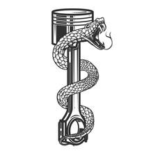 Illustrations Of Snake On Car Piston. Design Element For Poster, Card, Banner, Sign. Vector Illustration