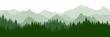 Green forest on background of mountains, silhouette. Beautiful landscape.  Evergreen coniferous trees. Vector illustration.