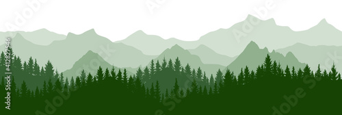 Canvas Print Green forest on background of mountains, silhouette