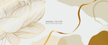 Luxury Gold Floral Background Vector. Lotus Flower Line Arts Minimal Wallpaper Design For Prints And Cover.