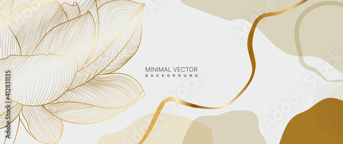 Obraz luxury gold floral background vector. lotus Flower line arts minimal wallpaper design for prints and cover. - fototapety do salonu