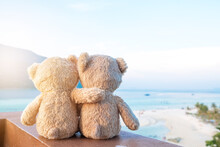 Two Teddy Bears Sitting Sea View. Love And Relationship Concept. Beautiful White Sandy Beach In The Summer.