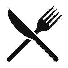 Fork And Knife Crossed Icon Logo. Flat Shape Restaurant Or Cafe Place Sign. Utensil Across. Kitchen And Diner Menu Button Symbol. Vector Silhouette Illustration Image.