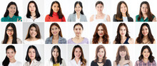 Collage Set Of 21 Cute And Beautiful Asian Women Faces On White Background, Different Hairstyle And Face Shapes But All Positive And Friendly Gestures