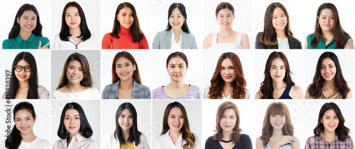 Foto Collage set of 21 cute and beautiful Asian women faces on white background, diff